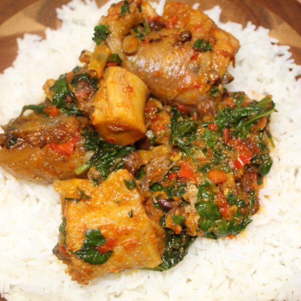 Spinach Stew (Efo riro) and rice!
