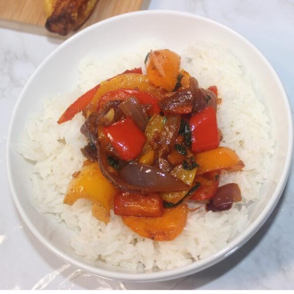 Berbere Vegetables on White Rice!